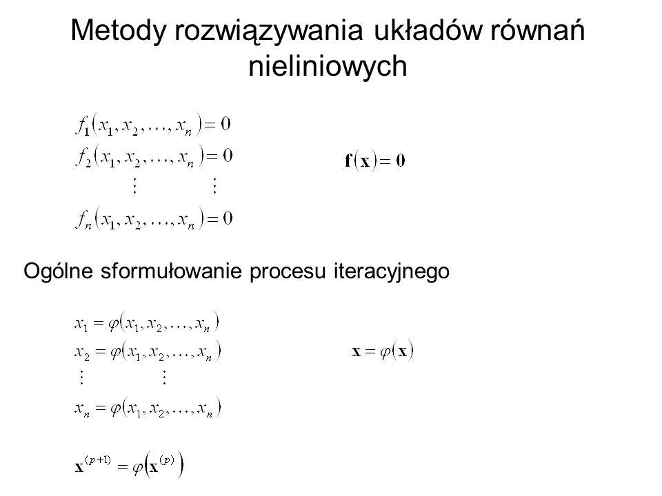 Metody rozwiązywania układów równań nieliniowych Ogólne sformułowanie procesu iteracyjnego