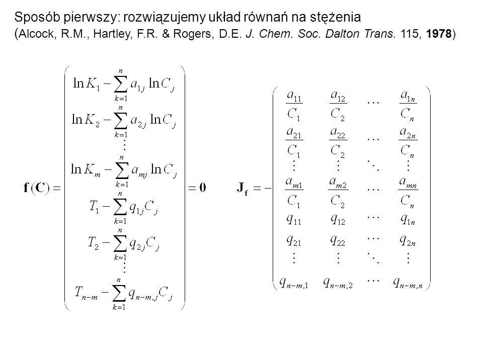 Sposób pierwszy: rozwiązujemy układ równań na stężenia ( Alcock, R.M., Hartley, F.R. & Rogers, D.E. J. Chem. Soc. Dalton Trans. 115, 1978)