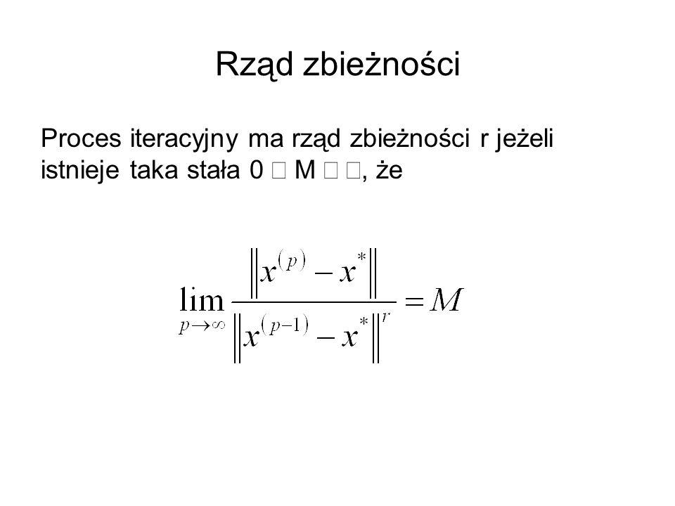 Rząd zbieżności Proces iteracyjny ma rząd zbieżności r jeżeli istnieje taka stała 0  M , że