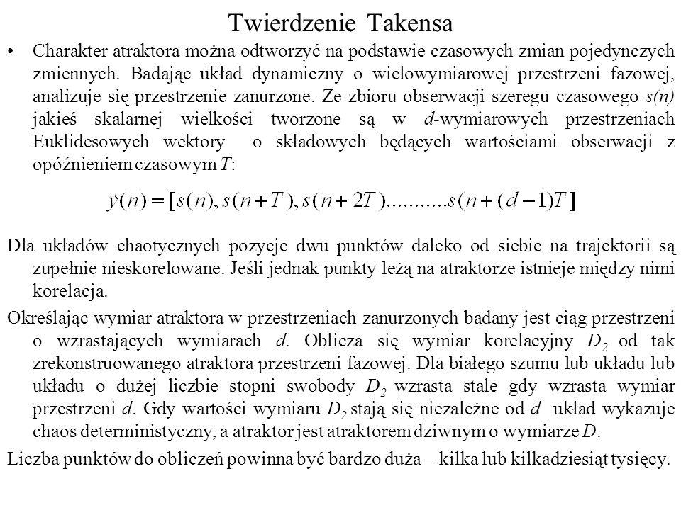 Twierdzenie Takensa Charakter atraktora można odtworzyć na podstawie czasowych zmian pojedynczych zmiennych.