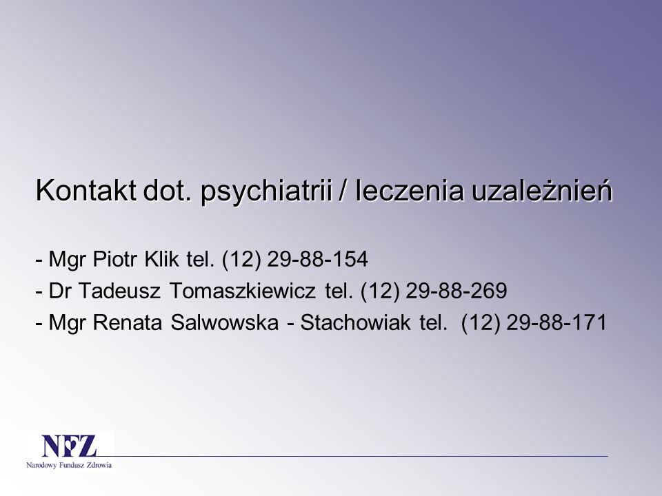 Kontakt dot. psychiatrii / leczenia uzależnień Kontakt dot. psychiatrii / leczenia uzależnień - Mgr Piotr Klik tel. (12) 29-88-154 - Dr Tadeusz Tomasz