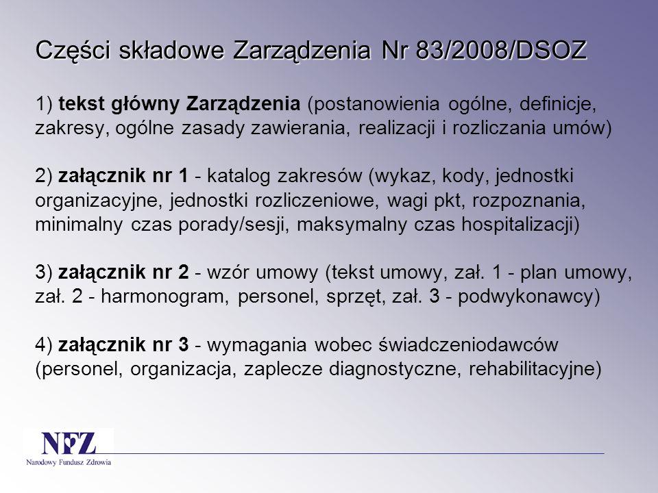 Części składowe Zarządzenia Nr 83/2008/DSOZ Części składowe Zarządzenia Nr 83/2008/DSOZ 1) tekst główny Zarządzenia (postanowienia ogólne, definicje, zakresy, ogólne zasady zawierania, realizacji i rozliczania umów) 2) załącznik nr 1 - katalog zakresów (wykaz, kody, jednostki organizacyjne, jednostki rozliczeniowe, wagi pkt, rozpoznania, minimalny czas porady/sesji, maksymalny czas hospitalizacji) 3) załącznik nr 2 - wzór umowy (tekst umowy, zał.