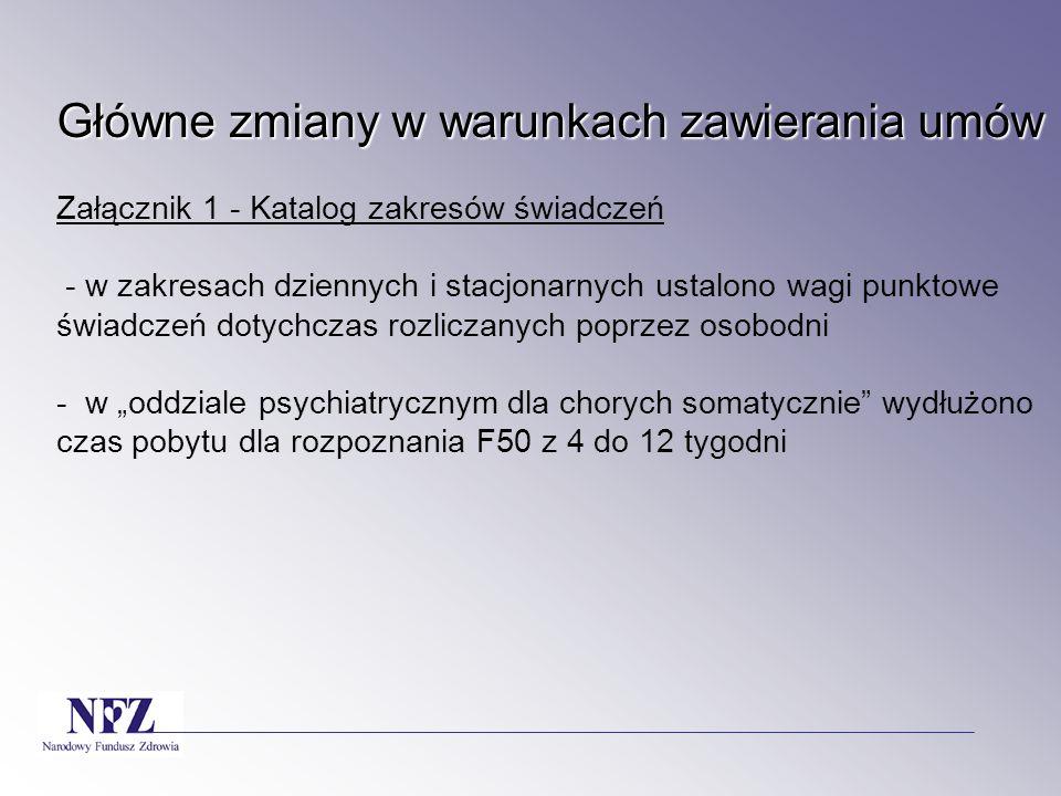 """Główne zmiany w warunkach zawierania umów Główne zmiany w warunkach zawierania umów Załącznik 1 - Katalog zakresów świadczeń - w zakresach dziennych i stacjonarnych ustalono wagi punktowe świadczeń dotychczas rozliczanych poprzez osobodni - w """"oddziale psychiatrycznym dla chorych somatycznie wydłużono czas pobytu dla rozpoznania F50 z 4 do 12 tygodni"""