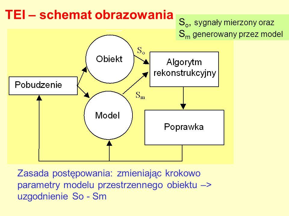 TEI – schemat obrazowania S o, sygnały mierzony oraz S m generowany przez model Zasada postępowania: zmieniając krokowo parametry modelu przestrzenneg