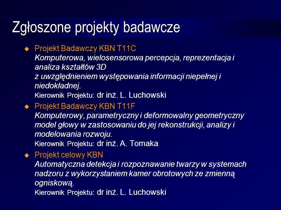 Zgłoszone projekty badawcze  Projekt Badawczy KBN T11C Komputerowa, wielosensorowa percepcja, reprezentacja i analiza kształtów 3D z uwzględnieniem występowania informacji niepełnej i niedokładnej.