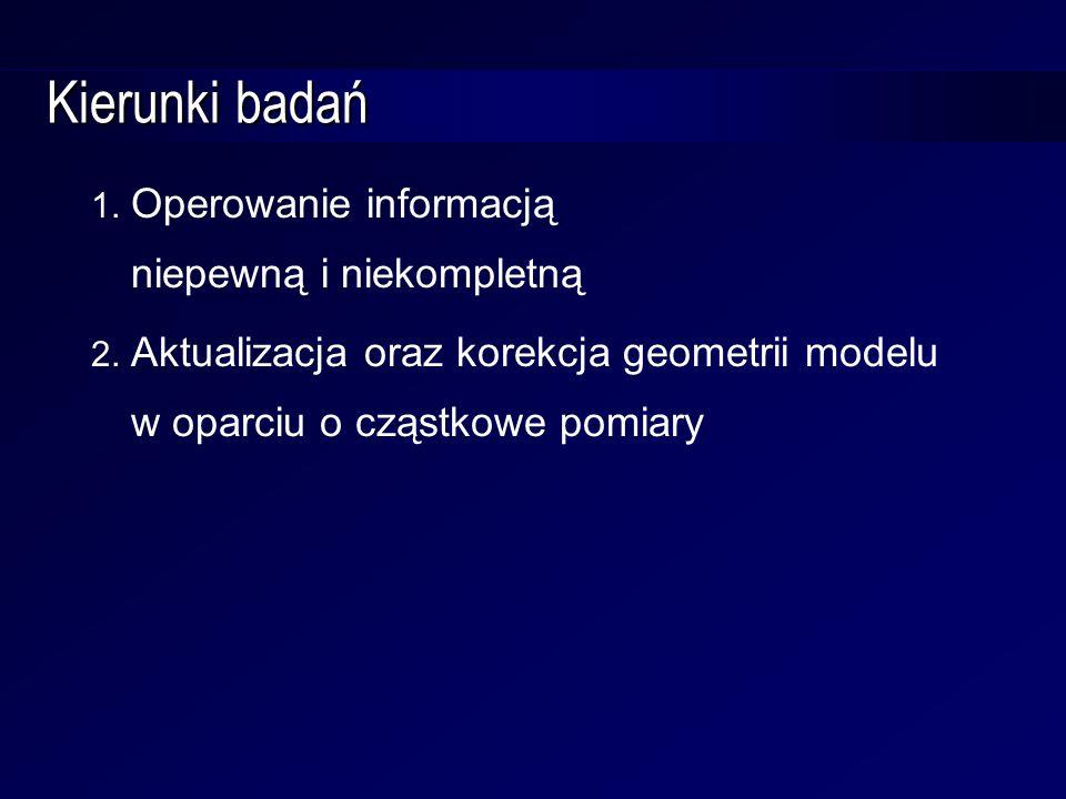 Kierunki badań 1. Operowanie informacją niepewną i niekompletną 2. Aktualizacja oraz korekcja geometrii modelu w oparciu o cząstkowe pomiary