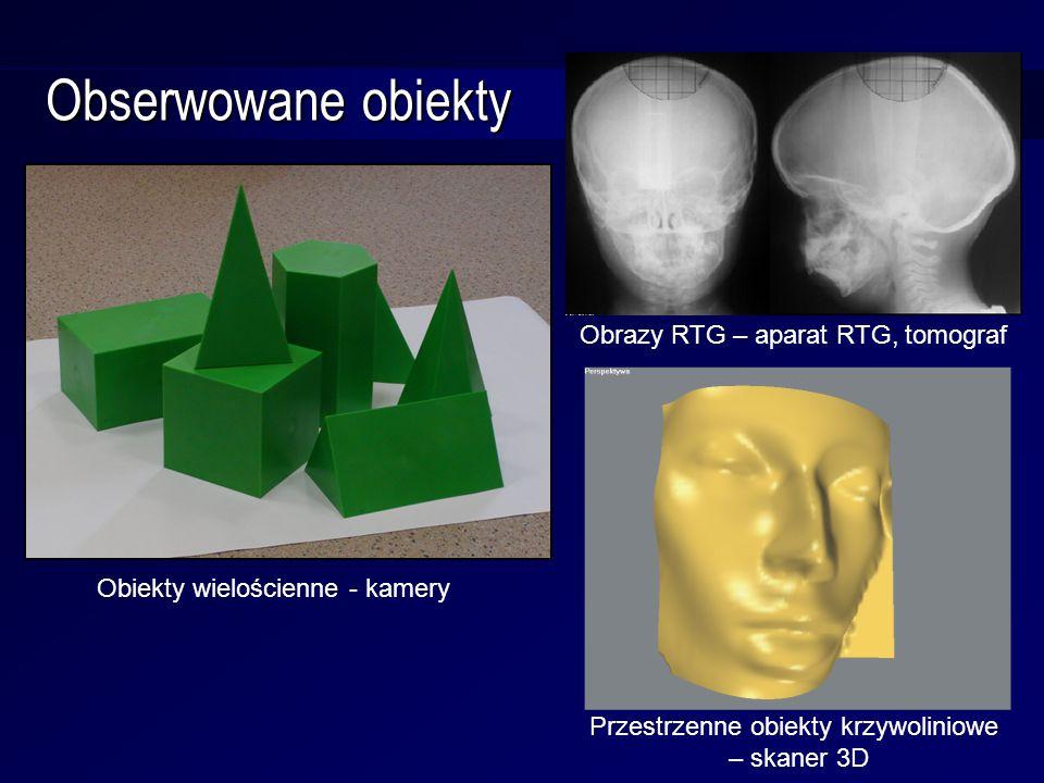 Obserwowane obiekty Obiekty wielościenne - kamery Obrazy RTG – aparat RTG, tomograf Przestrzenne obiekty krzywoliniowe – skaner 3D