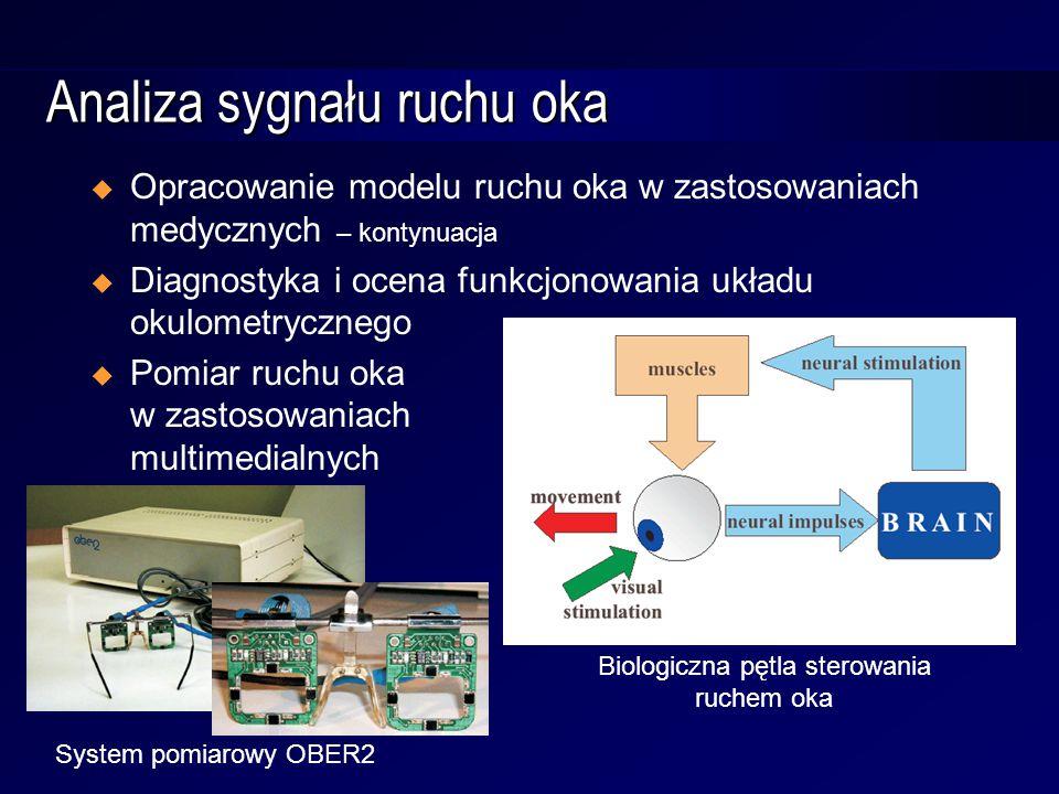 Analiza sygnału ruchu oka  Opracowanie modelu ruchu oka w zastosowaniach medycznych – kontynuacja  Diagnostyka i ocena funkcjonowania układu okulometrycznego  Pomiar ruchu oka w zastosowaniach multimedialnych Biologiczna pętla sterowania ruchem oka System pomiarowy OBER2