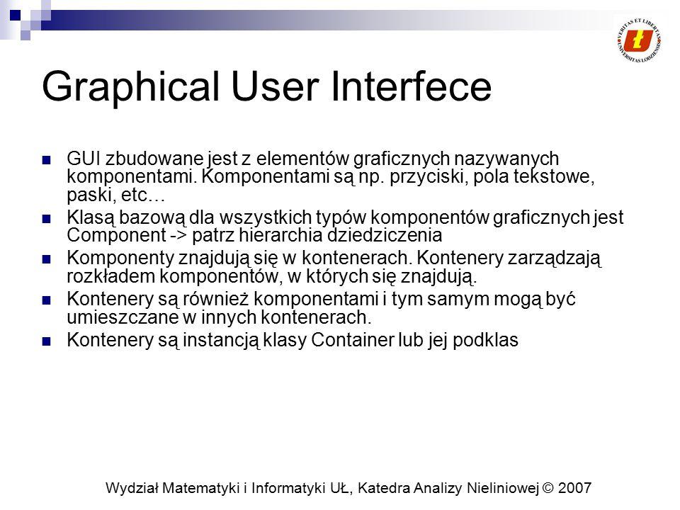 Wydział Matematyki i Informatyki UŁ, Katedra Analizy Nieliniowej © 2007 Odświeżanie komponentów graficznych Powodowane przez system  Komponent graficzny powinien zostać narysowany po raz pierwszy  Komponent zmienił rozmiar  Zawartość komponentu została przysłonięta Powodowane przez aplikację  Aplikacja uznaje, że jej stan wewnętrzny wymaga przemalowania komponentu Powodowane przez system  Z wątku obsługi zdarzeń zostanie wywołana metoda paint () Powodowane przez aplikację  Aplikacja woła repaint ()  Z wątku obsługi zdarzeń zostanie wywołana metoda update () (scalanie wywołań !)  Standardowa realizacja update () najpierw wypełni tło aktualnym kolorem tła komponentu, następnie wywoła metodę paint ()