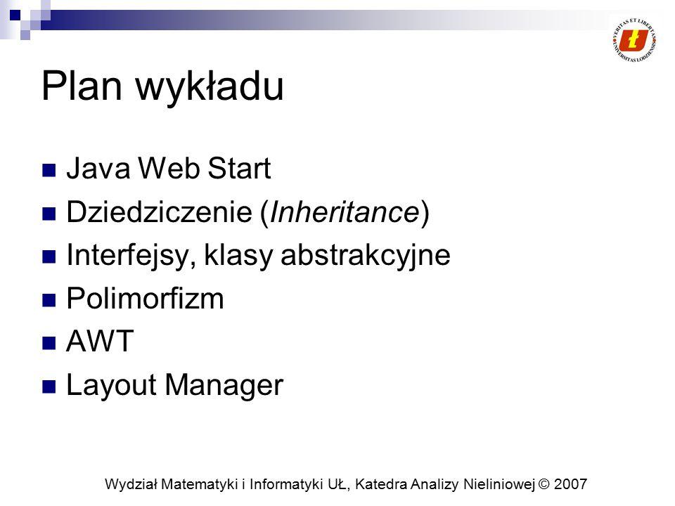 Wydział Matematyki i Informatyki UŁ, Katedra Analizy Nieliniowej © 2007 Java Web Start Uruchamianie aplikacji Javy z pełną funkcjonalnością za pomocą jednego kliknięcia  (http://java.sun.com/docs/books/tutorialJWS/deployment/webstart/examples/Note pad.jnlp)http://java.sun.com/docs/books/tutorialJWS/deployment/webstart/examples/Note pad.jnlp Pobieranie i uruchamianie aplikacji bez konieczności jakiejkolwiek instalacji dla różnych platform W przypadku, gdy aplikacja korzysta z innej wirtualnej maszyny niż dostępna lokalnie, maszyna ta zostanie pobrana i uruchomiona automatycznie Użytkownik może uruchomić aplikację poza przeglądarką.