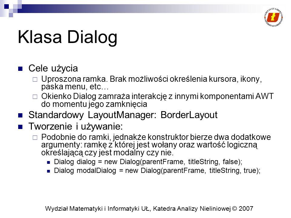 Wydział Matematyki i Informatyki UŁ, Katedra Analizy Nieliniowej © 2007 java.awt oraz hierarchia dziedziczenia