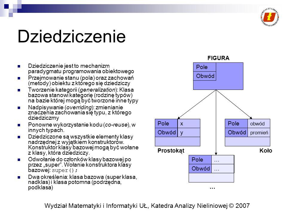 Wydział Matematyki i Informatyki UŁ, Katedra Analizy Nieliniowej © 2007 Jednokrotne dziedziczenie W Javie można stosować wyłącznie jednokrotne dziedziczenie.