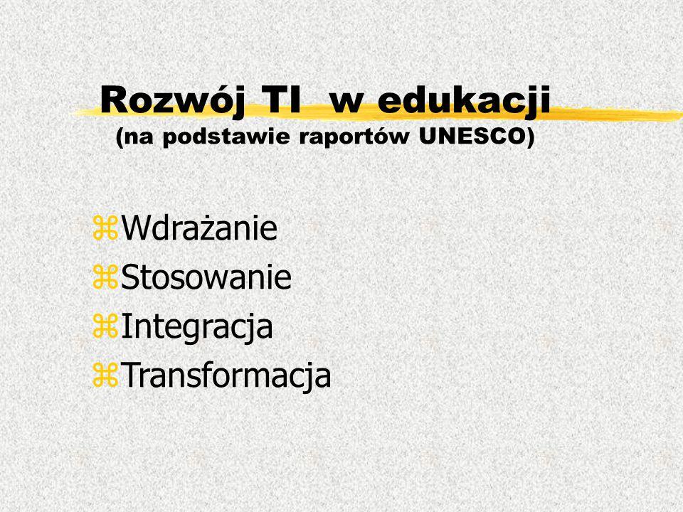 Rozwój TI w edukacji (na podstawie raportów UNESCO) zWdrażanie zStosowanie zIntegracja zTransformacja