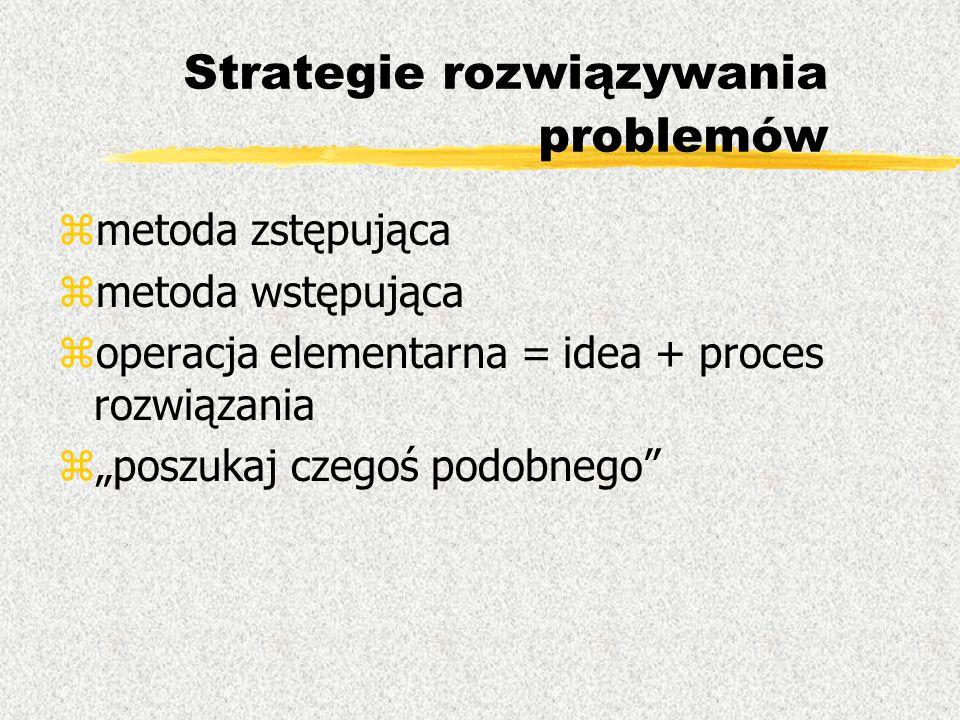 """Strategie rozwiązywania problemów zmetoda zstępująca zmetoda wstępująca zoperacja elementarna = idea + proces rozwiązania z""""poszukaj czegoś podobnego"""