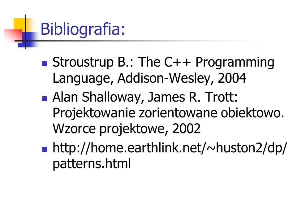 Bibliografia: Stroustrup B.: The C++ Programming Language, Addison-Wesley, 2004 Alan Shalloway, James R.