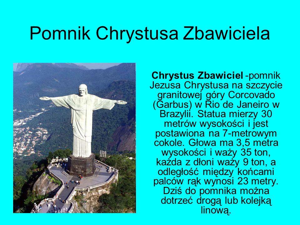 Pomnik Chrystusa Zbawiciela Chrystus Zbawiciel -pomnik Jezusa Chrystusa na szczycie granitowej góry Corcovado (Garbus) w Rio de Janeiro w Brazylii.