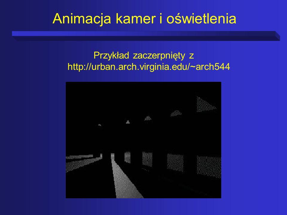 Animacja kamer i oświetlenia Przykład zaczerpnięty z http://urban.arch.virginia.edu/~arch544