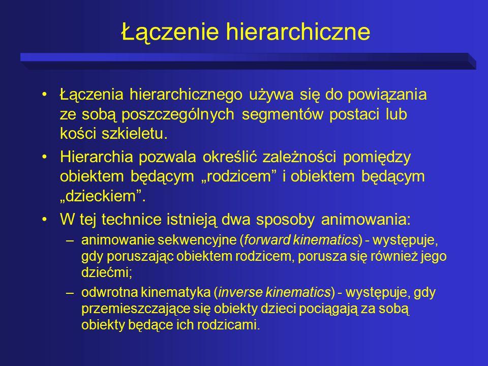 Łączenie hierarchiczne Łączenia hierarchicznego używa się do powiązania ze sobą poszczególnych segmentów postaci lub kości szkieletu.