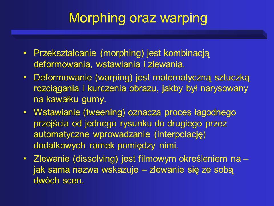Morphing oraz warping Przekształcanie (morphing) jest kombinacją deformowania, wstawiania i zlewania.