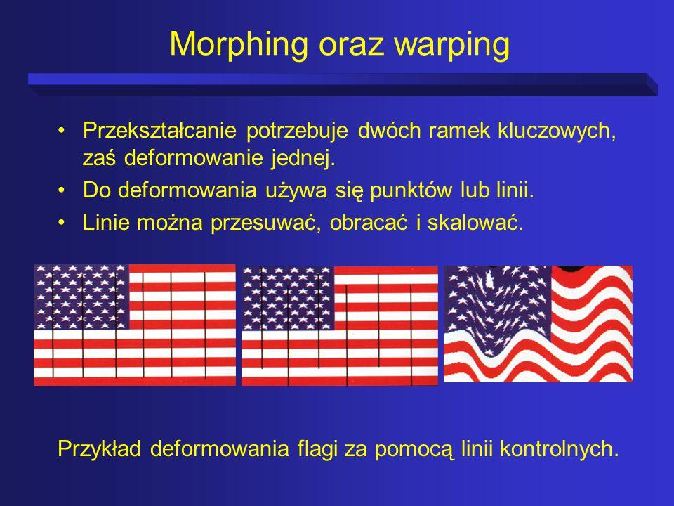 Morphing oraz warping Przekształcanie potrzebuje dwóch ramek kluczowych, zaś deformowanie jednej.
