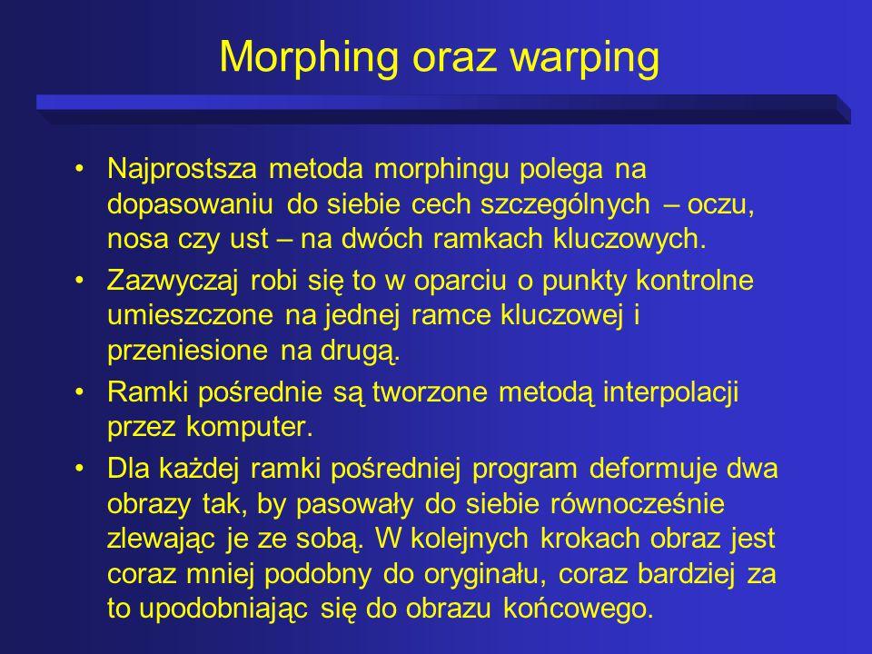 Morphing oraz warping Najprostsza metoda morphingu polega na dopasowaniu do siebie cech szczególnych – oczu, nosa czy ust – na dwóch ramkach kluczowych.