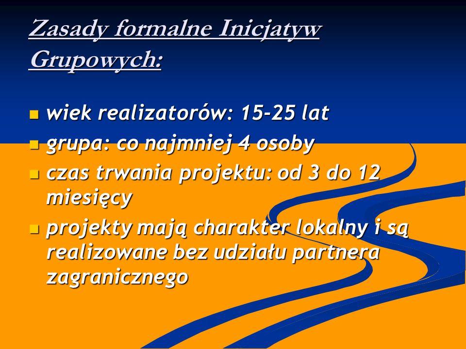 Zasady formalne Inicjatyw Grupowych: wiek realizatorów: 15-25 lat wiek realizatorów: 15-25 lat grupa: co najmniej 4 osoby grupa: co najmniej 4 osoby c