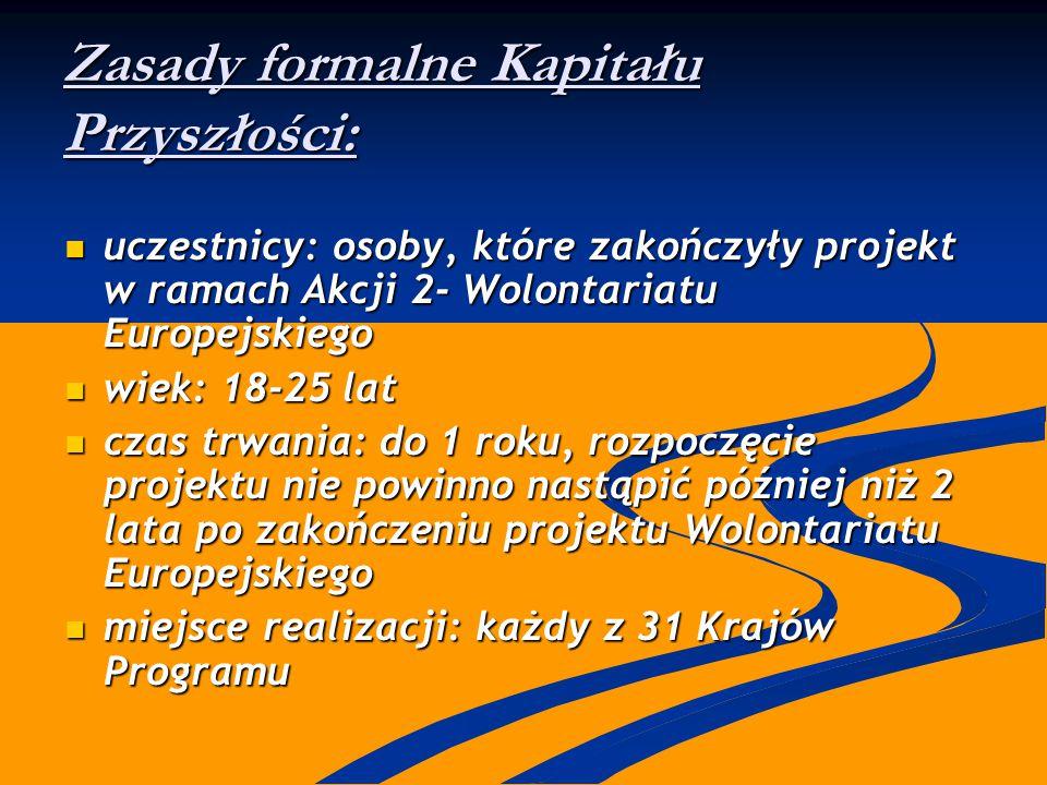 Zasady formalne Kapitału Przyszłości: uczestnicy: osoby, które zakończyły projekt w ramach Akcji 2- Wolontariatu Europejskiego uczestnicy: osoby, któr