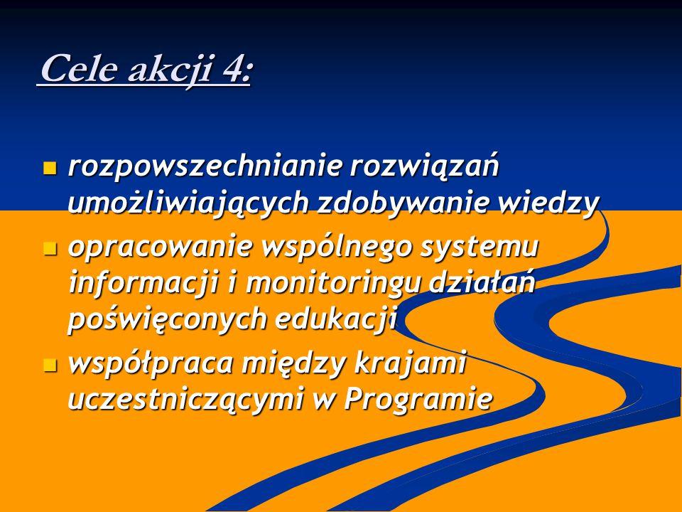 Cele akcji 4: rozpowszechnianie rozwiązań umożliwiających zdobywanie wiedzy rozpowszechnianie rozwiązań umożliwiających zdobywanie wiedzy opracowanie wspólnego systemu informacji i monitoringu działań poświęconych edukacji opracowanie wspólnego systemu informacji i monitoringu działań poświęconych edukacji współpraca między krajami uczestniczącymi w Programie współpraca między krajami uczestniczącymi w Programie