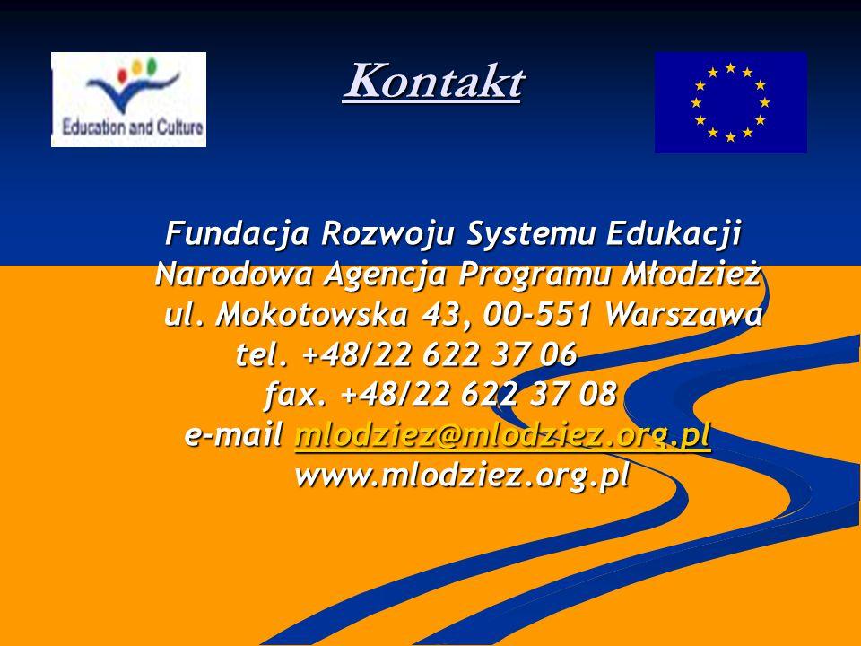 Kontakt Fundacja Rozwoju Systemu Edukacji Fundacja Rozwoju Systemu Edukacji Narodowa Agencja Programu Młodzież Narodowa Agencja Programu Młodzież ul.