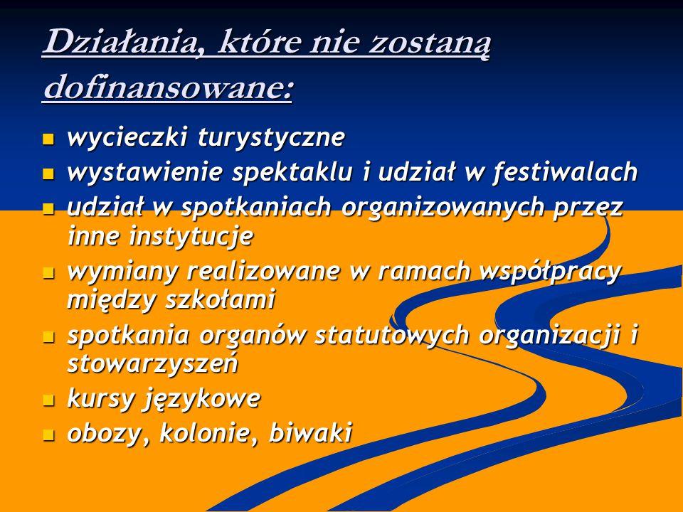 Działania, które nie zostaną dofinansowane: wycieczki turystyczne wycieczki turystyczne wystawienie spektaklu i udział w festiwalach wystawienie spekt