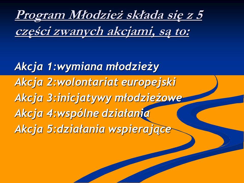 Program Młodzież składa się z 5 części zwanych akcjami, są to: Akcja 1:wymiana młodzieży Akcja 2:wolontariat europejski Akcja 3:inicjatywy młodzieżowe Akcja 4:wspólne działania Akcja 5:działania wspierające