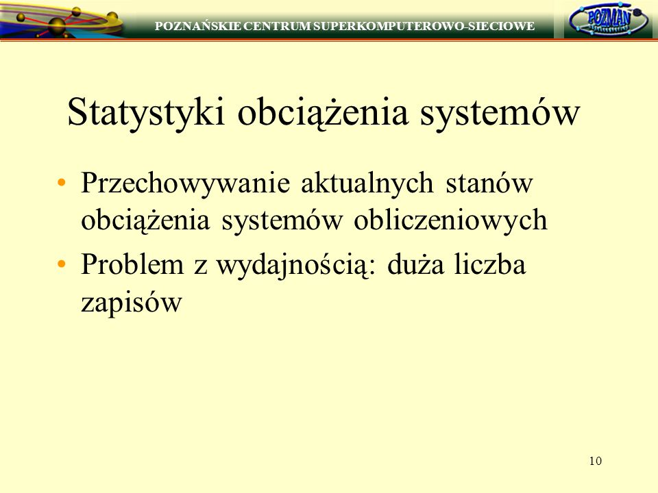 POZNAŃSKIE CENTRUM SUPERKOMPUTEROWO-SIECIOWE 10 Statystyki obciążenia systemów Przechowywanie aktualnych stanów obciążenia systemów obliczeniowych Pro