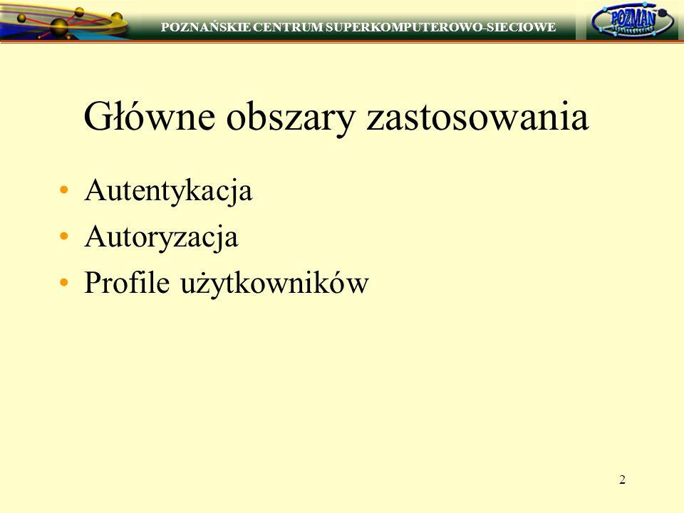 POZNAŃSKIE CENTRUM SUPERKOMPUTEROWO-SIECIOWE 3 Autentykacja Autentykacja użytkowników na podstawie: nazwy użytkownika i jego hasła certyfikatu użytkownika (grant PKI)