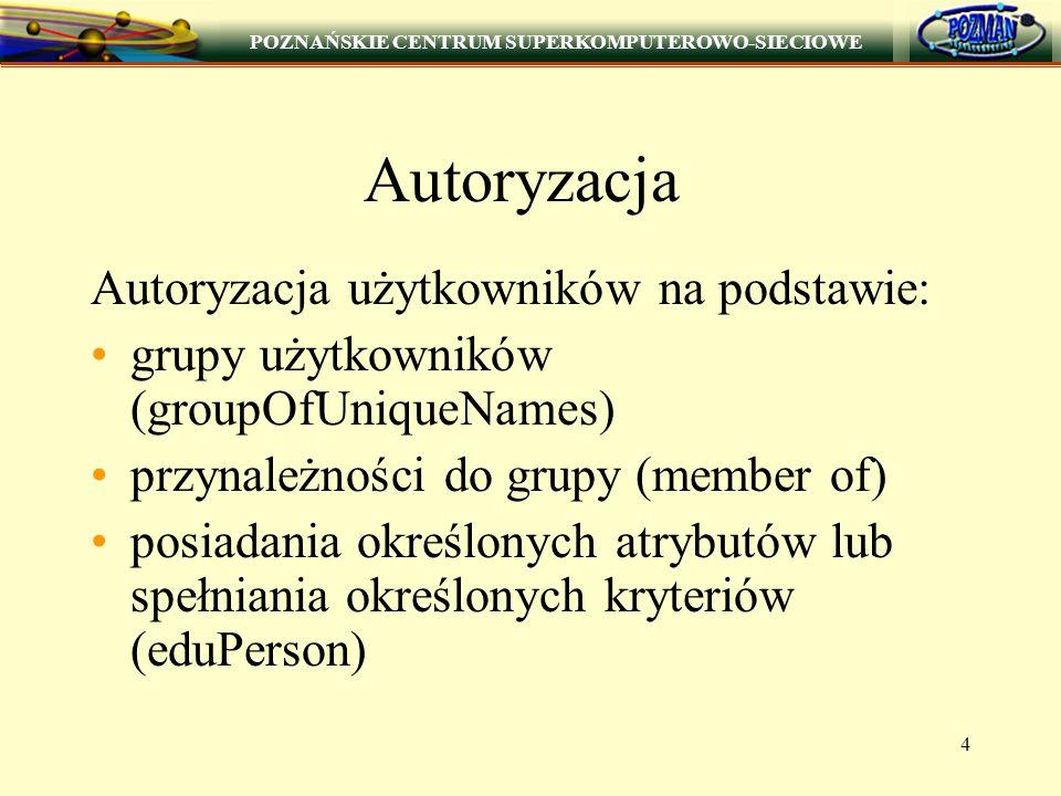 POZNAŃSKIE CENTRUM SUPERKOMPUTEROWO-SIECIOWE 4 Autoryzacja Autoryzacja użytkowników na podstawie: grupy użytkowników (groupOfUniqueNames) przynależności do grupy (member of) posiadania określonych atrybutów lub spełniania określonych kryteriów (eduPerson)