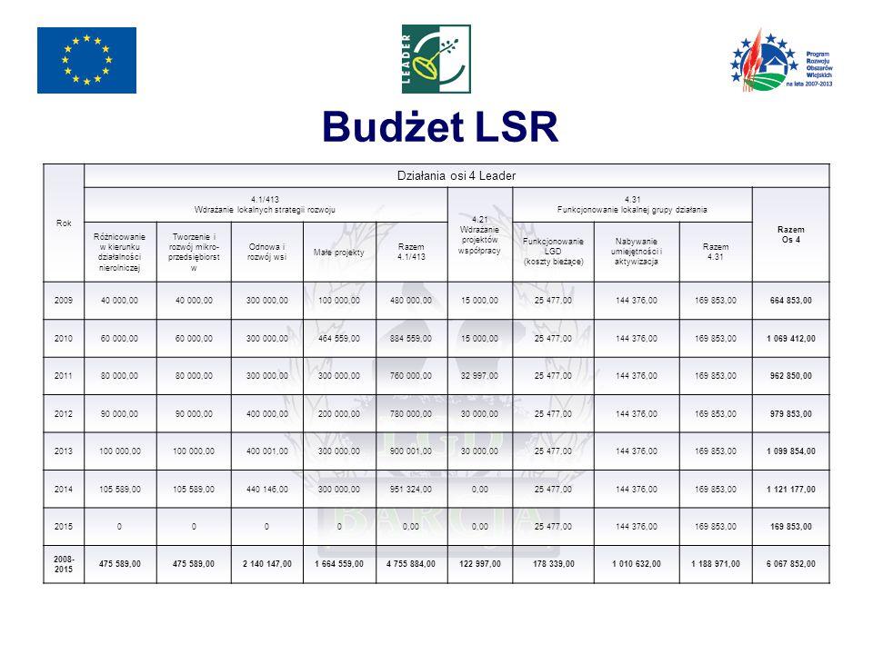 Budżet LSR Rok Działania osi 4 Leader 4.1/413 Wdrażanie lokalnych strategii rozwoju 4.21 Wdrażanie projektów współpracy 4.31 Funkcjonowanie lokalnej grupy działania Razem Os 4 Różnicowanie w kierunku działalności nierolniczej Tworzenie i rozwój mikro- przedsiębiorst w Odnowa i rozwój wsi Małe projekty Razem 4.1/413 Funkcjonowanie LGD (koszty bieżące) Nabywanie umiejętności i aktywizacja Razem 4.31 200940 000,00 300 000,00100 000,00480 000,0015 000,0025 477,00144 376,00169 853,00664 853,00 201060 000,00 300 000,00464 559,00884 559,0015 000,0025 477,00144 376,00169 853,001 069 412,00 201180 000,00 300 000,00 760 000,0032 997,0025 477,00144 376,00169 853,00962 850,00 201290 000,00 400 000,00200 000,00780 000,0030 000,0025 477,00144 376,00169 853,00979 853,00 2013100 000,00 400 001,00300 000,00900 001,0030 000,0025 477,00144 376,00169 853,001 099 854,00 2014105 589,00 440 146,00300 000,00951 324,000,0025 477,00144 376,00169 853,001 121 177,00 201500000,00 25 477,00144 376,00169 853,00 2008- 2015 475 589,00 2 140 147,001 664 559,004 755 884,00122 997,00178 339,001 010 632,001 188 971,006 067 852,00