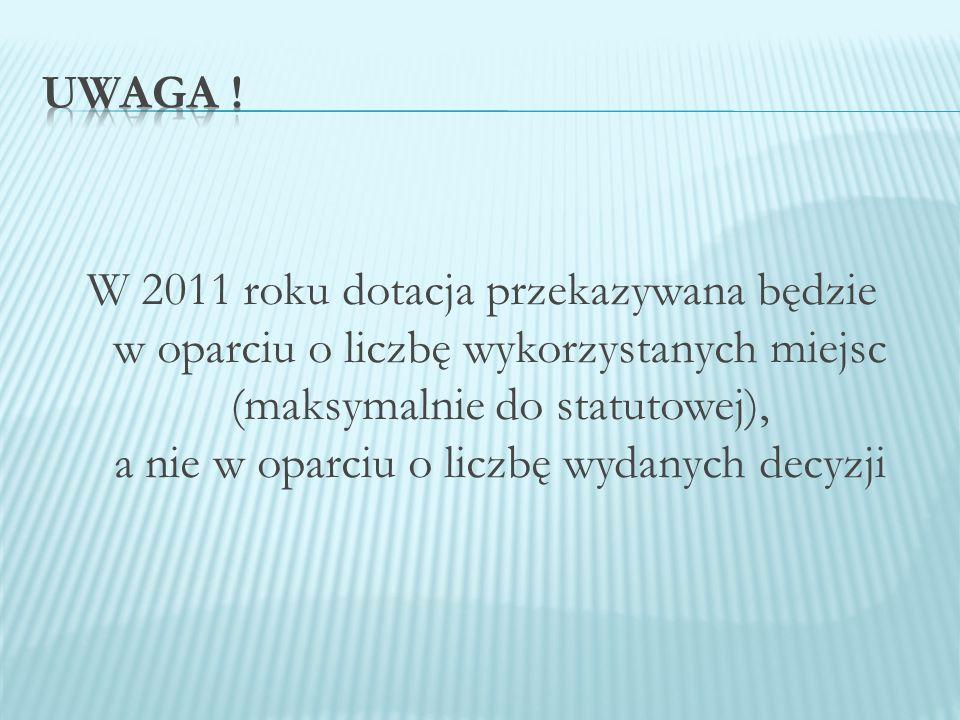 W 2011 roku dotacja przekazywana będzie w oparciu o liczbę wykorzystanych miejsc (maksymalnie do statutowej), a nie w oparciu o liczbę wydanych decyzji