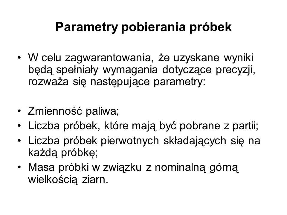 Parametry pobierania próbek W celu zagwarantowania, że uzyskane wyniki będą spełniały wymagania dotyczące precyzji, rozważa się następujące parametry: