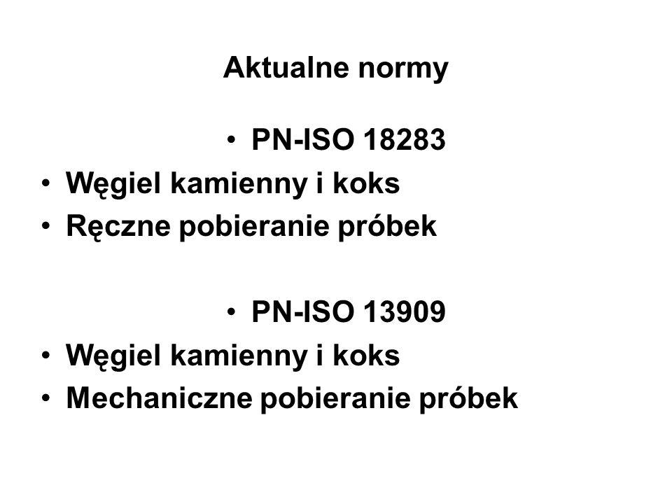 Aktualne normy PN-ISO 18283 Węgiel kamienny i koks Ręczne pobieranie próbek PN-ISO 13909 Węgiel kamienny i koks Mechaniczne pobieranie próbek