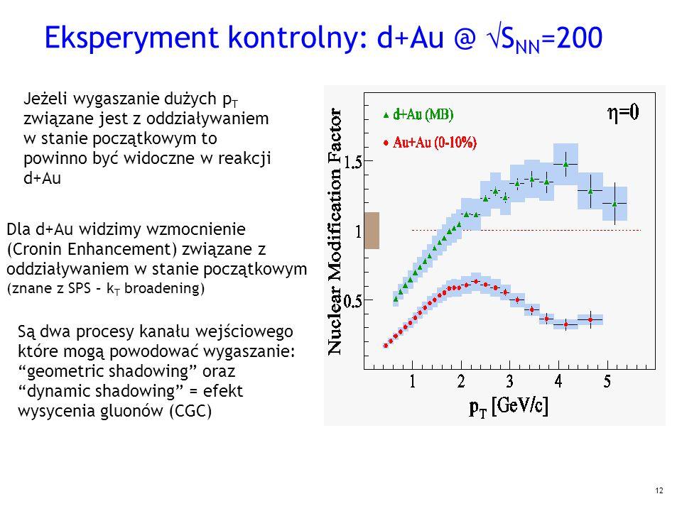 12 Eksperyment kontrolny: d+Au @  S NN =200 Jeżeli wygaszanie dużych p T związane jest z oddziaływaniem w stanie początkowym to powinno być widoczne w reakcji d+Au Dla d+Au widzimy wzmocnienie (Cronin Enhancement) związane z oddziaływaniem w stanie początkowym (znane z SPS – k T broadening)  Są dwa procesy kanału wejściowego które mogą powodować wygaszanie: geometric shadowing oraz dynamic shadowing = efekt wysycenia gluonów (CGC)