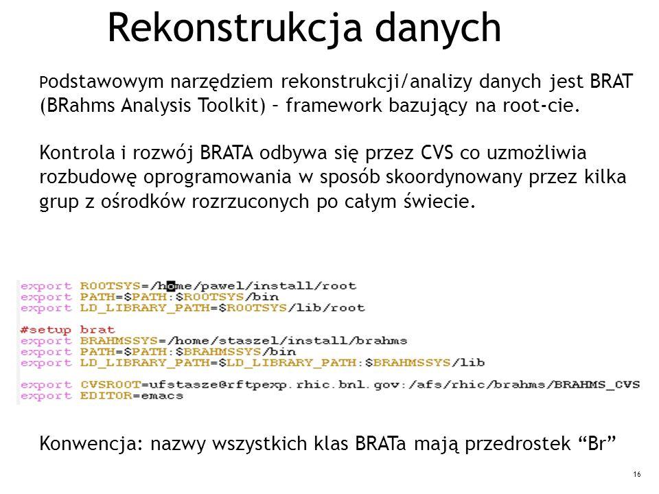 16 Rekonstrukcja danych P odstawowym narzędziem rekonstrukcji/analizy danych jest BRAT (BRahms Analysis Toolkit) – framework bazujący na root-cie.