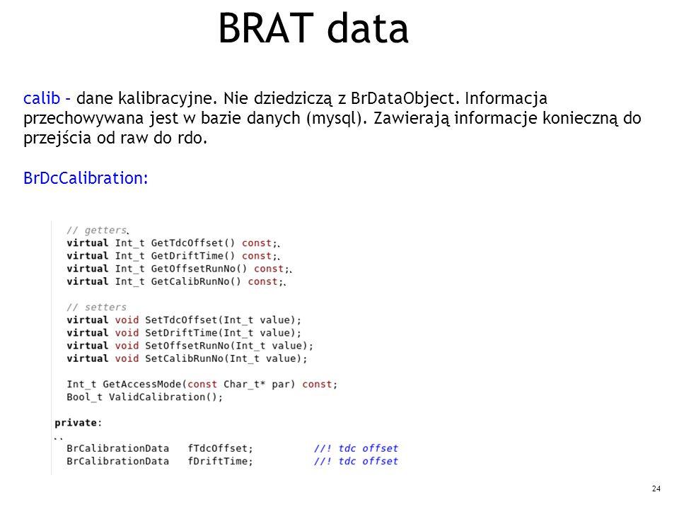 24 BRAT data calib – dane kalibracyjne. Nie dziedziczą z BrDataObject. Informacja przechowywana jest w bazie danych (mysql). Zawierają informacje koni