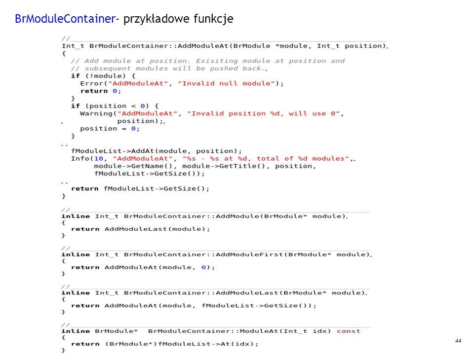 44 BrModuleContainer- przykładowe funkcje