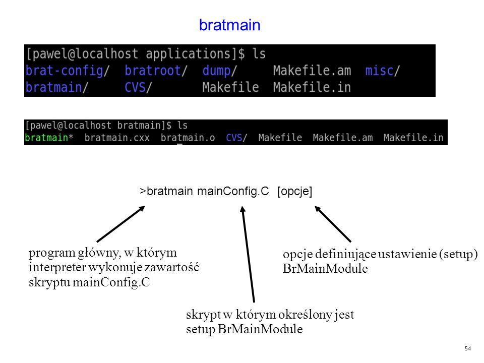 54 bratmain >bratmain mainConfig.C [opcje] program główny, w którym interpreter wykonuje zawartość skryptu mainConfig.C skrypt w którym określony jest setup BrMainModule opcje definiujące ustawienie (setup) BrMainModule