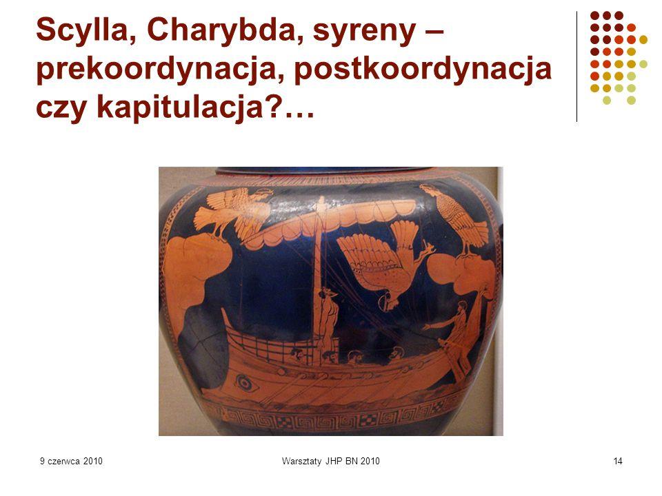 9 czerwca 2010Warsztaty JHP BN 201014 Scylla, Charybda, syreny – prekoordynacja, postkoordynacja czy kapitulacja?…