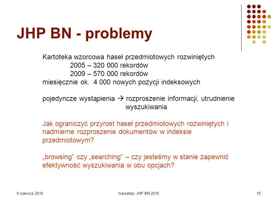 9 czerwca 2010Warsztaty JHP BN 201015 JHP BN - problemy Kartoteka wzorcowa haseł przedmiotowych rozwiniętych 2005 – 320 000 rekordów 2009 – 570 000 rekordów miesięcznie ok.