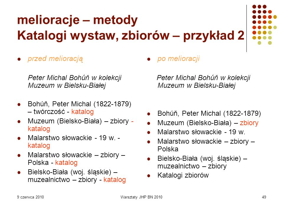 9 czerwca 2010Warsztaty JHP BN 201049 melioracje – metody Katalogi wystaw, zbiorów – przykład 2 przed melioracją Peter Michal Bohúň w kolekcji Muzeum w Bielsku-Białej Bohúň, Peter Michal (1822-1879) – twórczość - katalog Muzeum (Bielsko-Biała) – zbiory - katalog Malarstwo słowackie - 19 w.