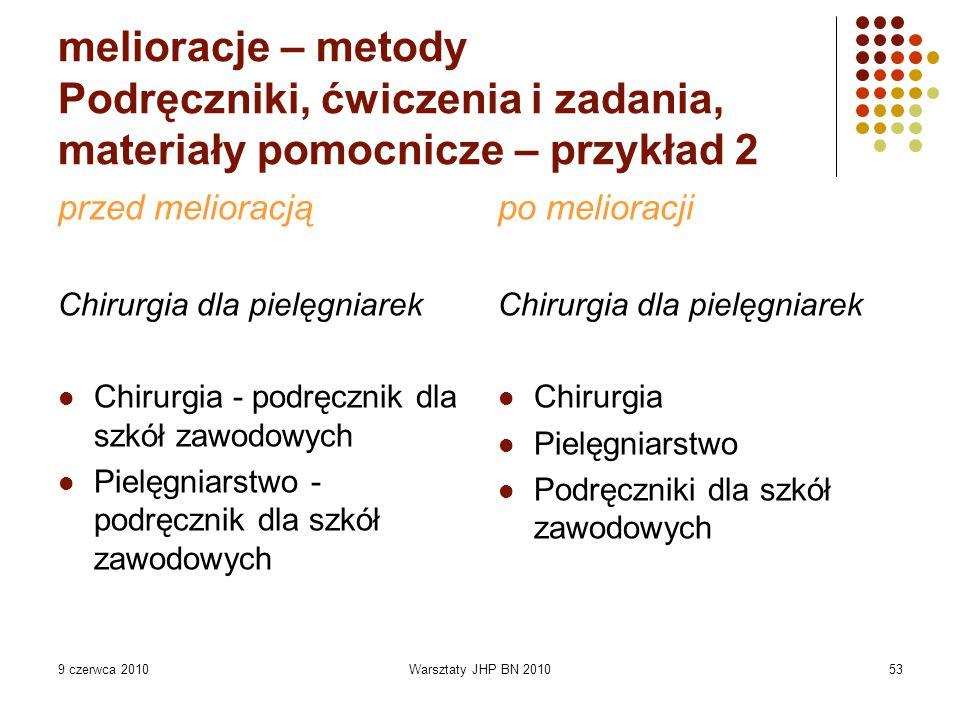 9 czerwca 2010Warsztaty JHP BN 201053 melioracje – metody Podręczniki, ćwiczenia i zadania, materiały pomocnicze – przykład 2 przed melioracją Chirurg