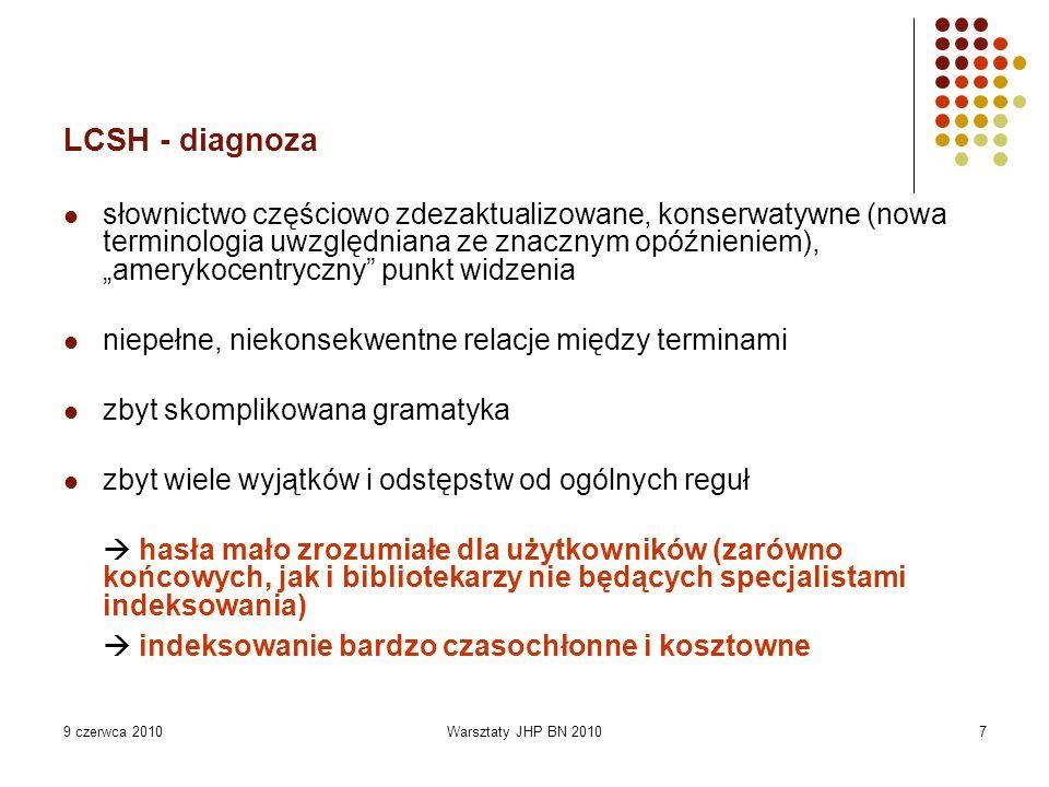 9 czerwca 2010Warsztaty JHP BN 20107 LCSH - diagnoza słownictwo częściowo zdezaktualizowane, konserwatywne (nowa terminologia uwzględniana ze znacznym