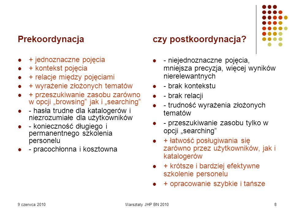 9 czerwca 2010Warsztaty JHP BN 20108 Prekoordynacja czy postkoordynacja? + jednoznaczne pojęcia + kontekst pojęcia + relacje między pojęciami + wyraże