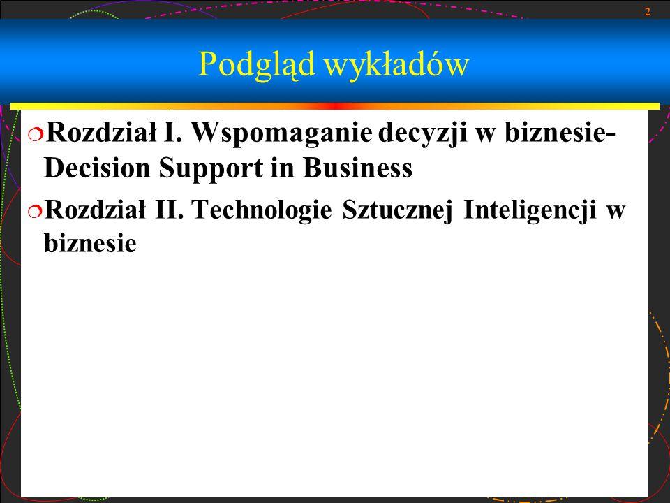 2 Podgląd wykładów  Rozdział I. Wspomaganie decyzji w biznesie- Decision Support in Business  Rozdział II. Technologie Sztucznej Inteligencji w bizn